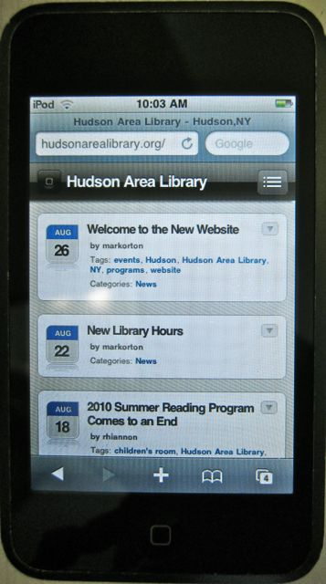 Library website on an iPod Touch