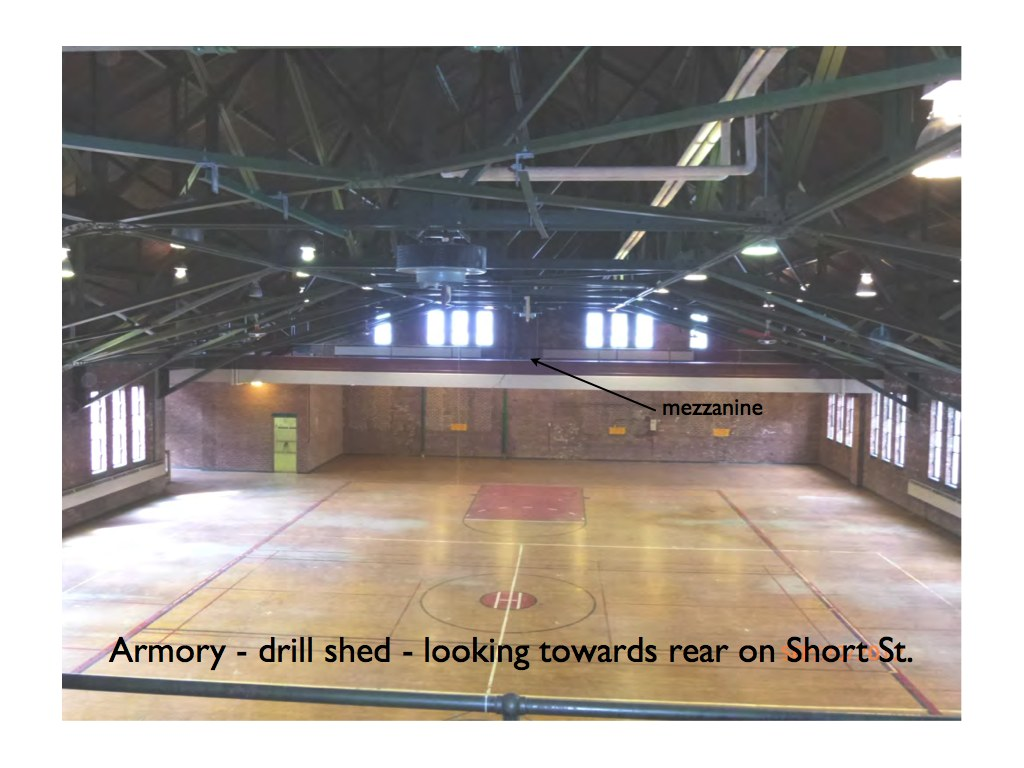 Armory drill shed view looking towards Short St. Hudson NY