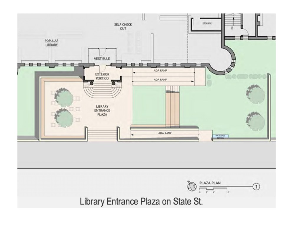 Library entrance plaza - plan view Hudson NY