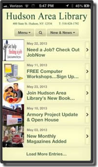 Hudson Area Library website home page on an IPhone