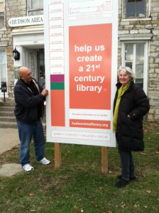 David Murphy and Theresa Parsons raise the thermometer