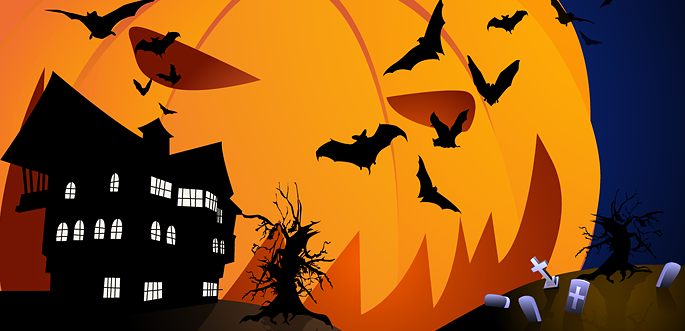 A haunted house and graveyard, with bats, and an enormous Jack-o-lantern occupying the entire background.