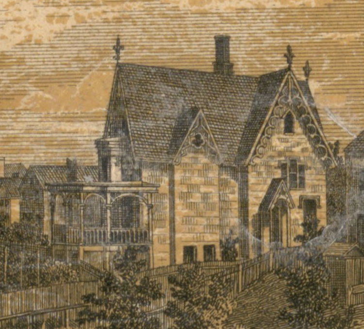 Engraving of the Charles C. Alger residence in Hudson, NY, 1858.